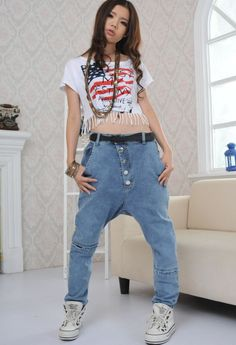 Aliexpress.com : Buy rihanna style jeans pants female dancer pants loose elastic jeans/pantalon de jeans de pantalon de danseuse female swag jean from Reliable pants jacket suppliers on streetwear extended tee store. | Alibaba Group