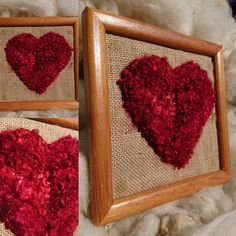 OH FOR THE LOVE OF FIBRE Needle felted heart on hessian in reclaimed frame. Hand dyed longwool locks create a curly texture Only 1 available Measurements (with frame) x Normal price - Market price - P&P(UK) - P&P(international) - Market Price, Hessian, Needle Felting, Locks, Sunshine, Curly, Texture, 3d, Marketing
