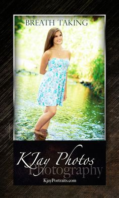 River, Stream, Senior Pictures.  Breath taking photography using the light and color.  Use of the water can make high school senior portraits unique, fun and beautiful.  www.kjayportraits.com