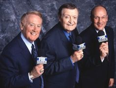 Hall of Fame broadcasters from Los Angeles - Dodgers Vin Scully, Lakers Chick Hearn, and Kings Bob Miller