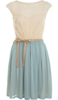 Blue and cream romantic dress ...  what a precious little dress!