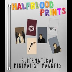SUPERNATURAL MINIMALIST MAGNETS - Set of 6!