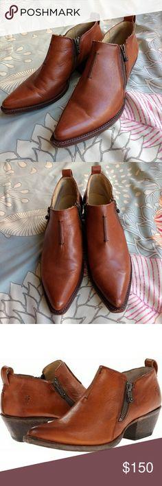 edfe3f538c4b Frye Sacha Moto Ankle Boots size 10 Frye Cognac Sacha Leather Moto Ankle  Shootie Bootie Boots