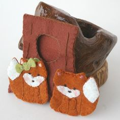 fox in forest tree finger puppets