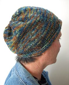 Mens Hand Knit Cap Beanie Slouchy Style Rolled Ribbed by Fanchi, $28.00