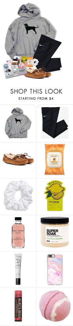 """My lazy day outfit "" by rachelxchaney ❤ liked on Polyvore featuring NIKE, UGG, Burt's Bees, Natasha, Tony Moly, Bobbi Brown Cosmetics, Plant Apothecary, NARS Cosmetics, Casetify and Farmacy"