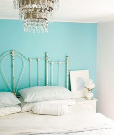 I have this exact color on one wall and the rest in a pale grey...but the aqua is metallic...