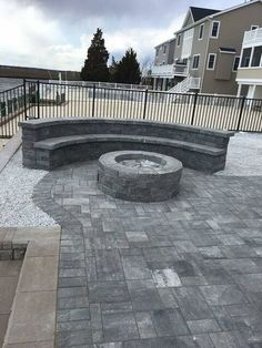 Bring on the fire! This outdoor space features Cambridge Pavingstones and a Fire Pit Kit. Contractor: Jersey Shore Pavers
