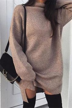 Women Casual High Neck Long Sleeve Sweater Dress - Brown, S Casual Sweaters, Long Sweaters, Types Of Sleeves, Dresses With Sleeves, Sleeve Dresses, Winter Fashion Casual, Casual Fall, Winter Style, Casual Party