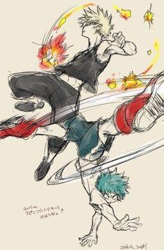 My Hero Academia (僕のヒーローアカデミア) - Katsuki Bakugou and Izuku Midoriya Action Pose Reference, Drawing Reference Poses, Action Poses, Drawing Poses, Buko No Hero Academia, My Hero Academia Memes, Hero Academia Characters, My Hero Academia Manga, Character Poses