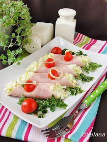 Ala piecze i gotuje: Sałatka z pora w szynce Finger Foods, Sushi, Salads, Food And Drink, Appetizers, Ethnic Recipes, Vans, Polish, Enamel