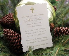 Ivory & Gold Baptism / Communion Invitation by RSVP Custom Creations $1.15 each