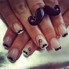 Wear mustache nail art to raise awareness for men's health issues this month. Nail Polish Designs, Cute Nail Designs, Diy Nails, Cute Nails, Mustache Nail Art, Movember, Nail Ideas, Hair And Nails, I Am Awesome