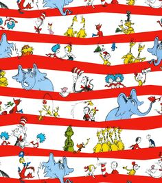 Seuss Border Stripe # From Robert Kaufman By Dr. Seuss Enterprises Celebrate Seuss by Dr. Seuss Enterprises Collection In Licensed Products DESCRIPTION Cotton, Thanks! Dr. Seuss, Dr Seuss Fabric, The Lorax, Thing 1, Robert Kaufman, Design Studio, Striped Fabrics, Coordinating Fabrics, Fabric Design