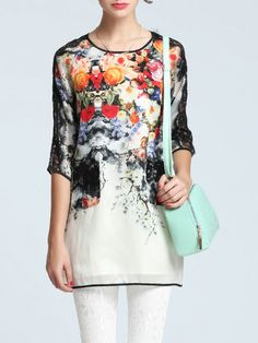 Floral Floral-print Silk Short Sleeved Top