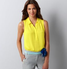 Attention Ladies: Everyone needs a @LOFT electric yellow sleeveless blouse! - my 2nd favorite Loft blouse