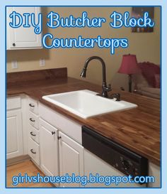 Step by step tutorial for DIY butcher block counter tops - Girl vs. House: Butcher block countertops