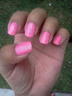 Pink glitter nail designs
