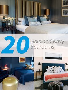 20 Beautiful Bedroom Designs with Gold and Navy Accents