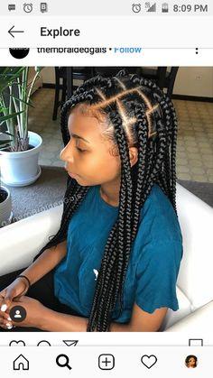 2019 Trendy Inspirational Braids to Rock - Naija's Daily Toddler Braided Hairstyles, Braided Hairstyles For Black Women, African Braids Hairstyles, Little Girl Hairstyles, Black Box Braids, Black Girl Braids, African Box Braids, Balayage Straight Hair, Little Girl Braids