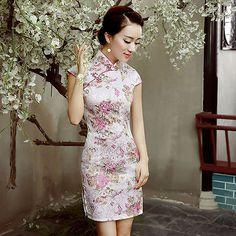 Hot Chinese women s Charming mini dress evening dress Cheongsam Qipao S-3XL  Traditional Chinese 902c3c0c80