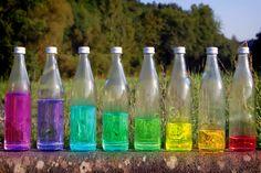 Glass bottle xylophone.