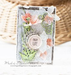 *Enjoy Life* card Maja Design, Dusty Attic - Scrapbook.com - Gorgeous mix of textures and lovely soft spring colors in this handmade card.