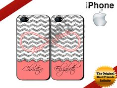 Best Friends iPhone Case, iPhone 4 Case,iPhone 5 Case Glittery Coral Chevron Personalized iPhone Case - Two Case Set (NOT ACTUAL GLITTER) on Etsy, $22.99