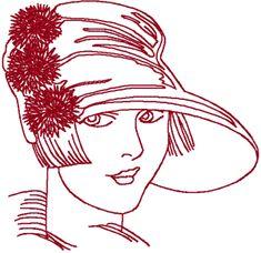 Redwork Flapper Embroidery Design