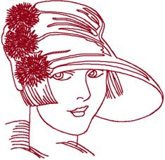 Redwork Flapper Embroidery Design