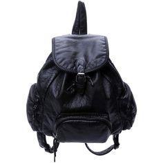SheIn(sheinside) Black Buckle PU Backpack (€24) ❤ liked on Polyvore featuring bags, backpacks, sheinside, accessories, black, pu bag, rucksack bags, pu backpack, polyurethane bags and backpack bags