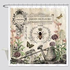 Modern Vintage French Bee Garden Shower Curtain