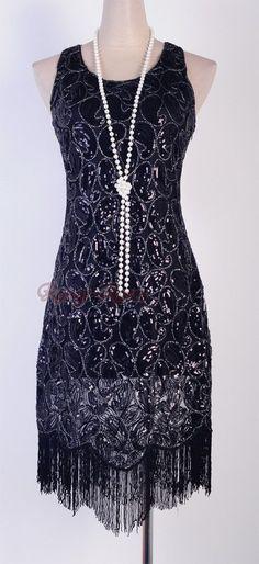 3a048b0fa7b 1920 s Flapper Party Clubwear Gatsby Abbey Sequin  amp  Tassel Black Dress  Rr 3239 1920s Flapper