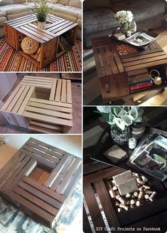 DIY pallet table via diy craft projects - Easy Diy Furniture Wooden Crate Coffee Table, Crate Table, Wooden Crates, Table Diy, Wood Table, Wood Pallets, Pallet Crafts, Diy Pallet Projects, Diy Craft Projects