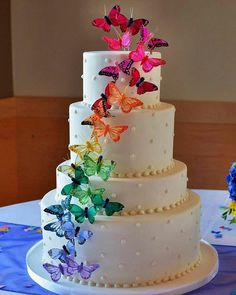 Rainbow Butterfly Wedding Cake ~ Easy enough to add some butterflies. Butterfly Wedding Cake, Butterfly Birthday Cakes, Butterfly Cakes, Rainbow Butterfly, Rainbow Wedding Cakes, Flower Cakes, Cakes With Butterflies, Easy Wedding Cakes, Rainbow Wedding Dress