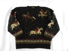 Vintage Womens 1990 100% Wool Blue Sweater Eddie Bauer Size M Medium Horses  #EddieBauer #Crewneck