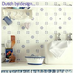 French Blue and White Tile   these pretty? Inspired by delftware, just add a blue and white ...