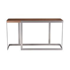 Stainless Steel Console Table With Walnut Top, Perfect For Entry Ways Caroline  Console Table