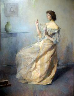 """American artist, and teacher at the Art Student League, in NYC: Thomas Wilmer Dewing, (1851-1938) - """"The Necklace"""" c.1907. ~ American Architect, Stanford White promoted Dewing, during the Gilded Age era in NYC. White even fashioned the gilded frames, for Dewing's paintings. ~ {cwl}"""