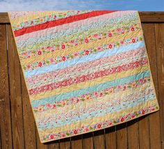 Sweetest Thing Baby Girl Quilt Pink Yellow Blue by JennyMsQuilts, $150.00