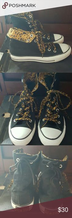 Converse high tops in Leopard print size 8 Women's size 8 Converse in black with Leopard. Worn twice. Leopard laces, Leopard print inside that can be shown if you bend them down. Super cute! Converse Shoes Sneakers