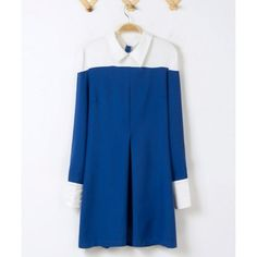 Stylish Peter Pan Collar Color Block Beam Waist Back Zipper Long Sleeves Dress For Women, AS THE PICTURE, L in Dresses 2014 | DressLily.com