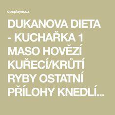 DUKANOVA DIETA - KUCHAŘKA 1 MASO HOVĚZÍ KUŘECÍ/KRŮTÍ RYBY OSTATNÍ PŘÍLOHY KNEDLÍKY, NOKY OSTATNÍ PŘÍLOHY POLÉVKY PEČIVO... 19 Calm