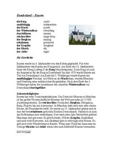 This 2-page file includes a german language reading on Bavaria or Bundesland Bayern. Includes one paragraph on its history and one paragraph on tourist attractions and other sites.The second page includes reading comprehension questions and a short writing assignment.