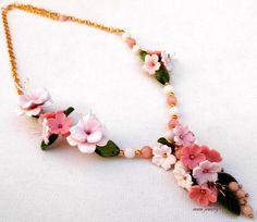 Flower necklace  #Pink jewelry  #Sakura  Cherry by insoujewelry