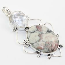RUBY RHODONITE CRYSTAL STONE FASHION JEWELRY  .925 SILVER PLATED PENDANT  S5565