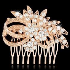 Vintage Inspired Rose Gold Crystal Rhinestone Hair Comb (Sparkle-2247-U) #Unbranded #HairComb