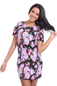 Red Label   Black floral print tunic with zip, £15 #tunic #dress #floral #loveredlabel www.loveredlabel.com