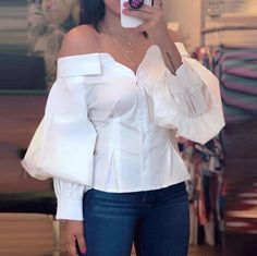 Casual Shirt Lantern Sleeve Off Shoulder Blouse 2019 Women Elegant Fashion White Basic Office Top Brief Ruched blusas Look Fashion, Fashion Outfits, Fashion Tips, Fashion Trends, Womens Fashion, Fall Fashion, Feminine Fashion, Vogue Fashion, Cheap Fashion