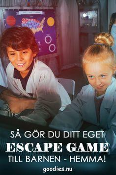 Vill du bjuda barnen på något lite extra roligt? Varför inte skapa ett escape game som du låter barnen testa och se om de kan ta sig ut ur rummet innan tiden är ute? Mycket roligt koncept som passar utmärkt till barnkalas och andra tillställningar där det finns tid och rum för barnen att öva på samarbete genom roliga lekar i lag. #escapegame #escapge_game #barnkalas #kalas #escaperoom #goodies Exit Games, Bra Hacks, Diy Workshop, Escape Room, Children And Family, Business For Kids, Childrens Party, Kids Education, Baby Fever